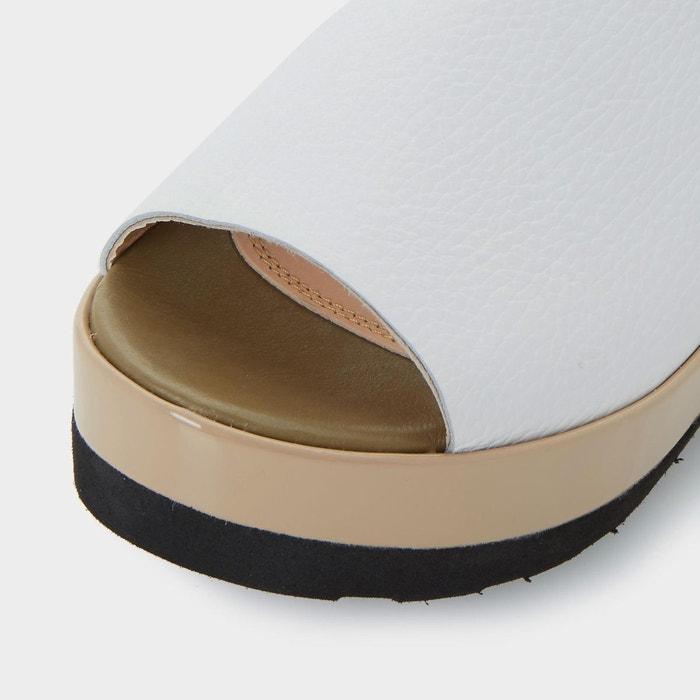 Sandales plateformes à deux tons et bride arrière - leader Dune Black