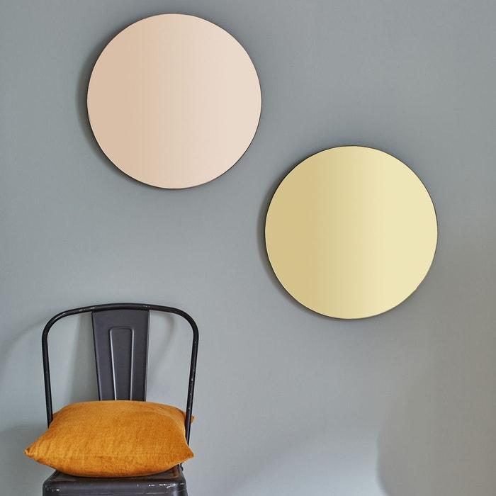 Miroir rond vintage dor cuivre bois dessus bois dessous for Miroir rond eclairant