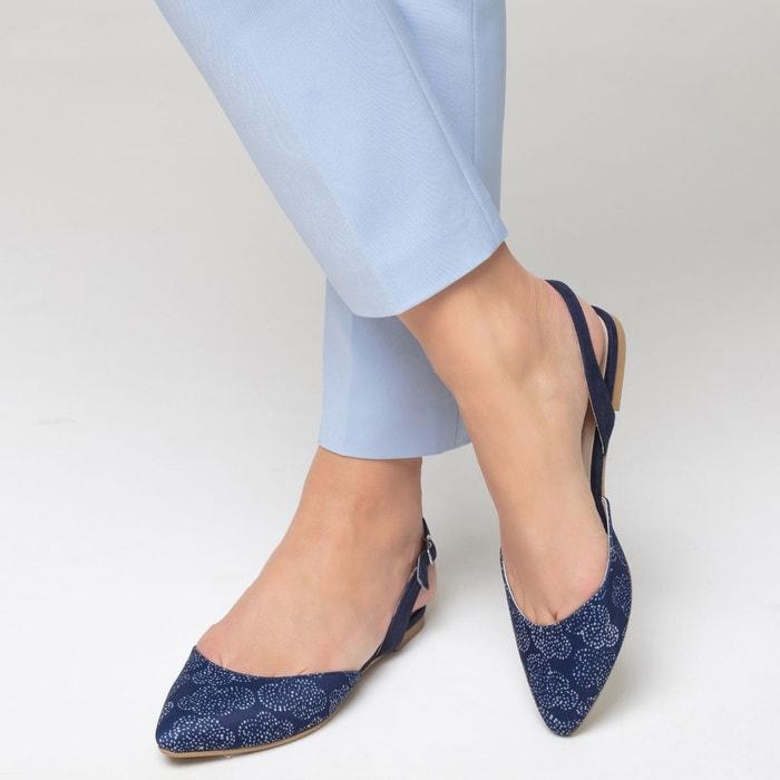 Ballerine en toile imprimé bleu La Redoute Collections