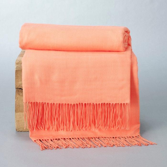 plaid frang gid a orange corail la redoute interieurs en solde la redoute. Black Bedroom Furniture Sets. Home Design Ideas
