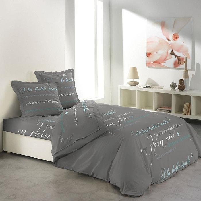 parure de drap 2 taies d 39 oreiller modele belle etoile gris douceur d 39 int rieur la redoute. Black Bedroom Furniture Sets. Home Design Ideas