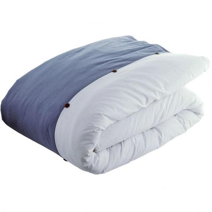 Housse de couette bicolore loft jeans blanc jean 39 s blanc for La redoute housse de couette bicolore