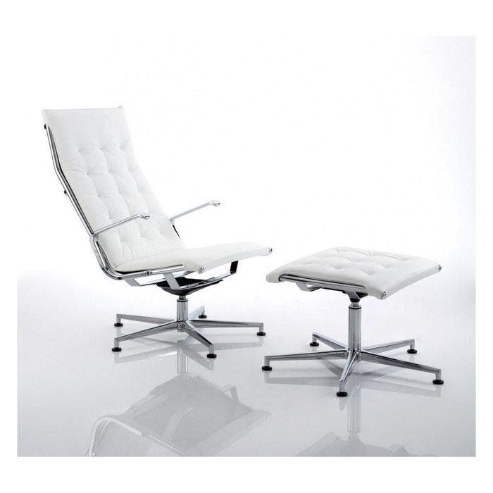 chaise design et pouf couture en cuir blanc blanc seanroyale