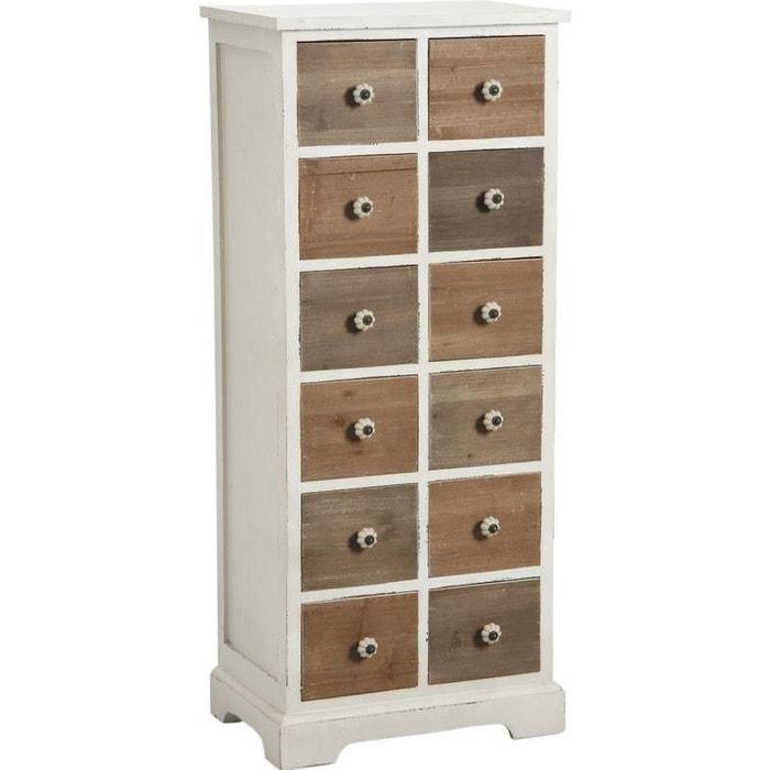 Commode 12 tiroirs en pin poign es c ramique multicolore - Petit meuble de rangement en pin ...