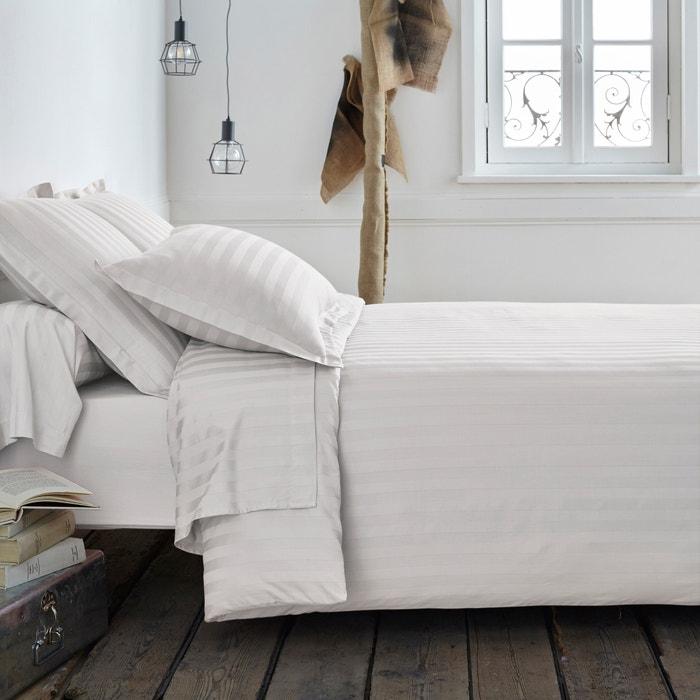 Capa de edredon, cetim de algodão, tecido às riscas  La Redoute Interieurs image 0