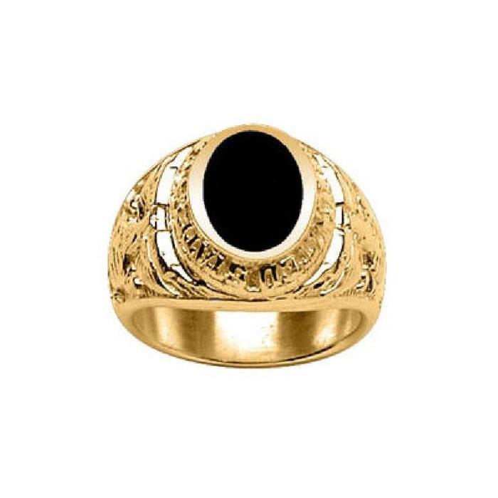 Chevalière bague anneau us marine corps ovale onyx noir vermeil (or 750 sur argent 925) couleur unique So Chic Bijoux   La Redoute Choisir Une Meilleure Prise 3Yvk9Zs
