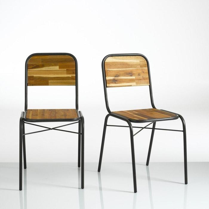 set of 2 tubular steel hiba chairs aged grey la redoute. Black Bedroom Furniture Sets. Home Design Ideas