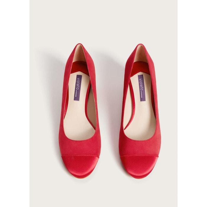 Chaussures à talons daim fuchsia Violeta By Mango
