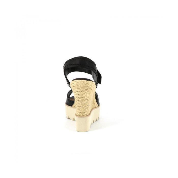 Sandales plateforme alpha noir Cassis Cote Dazur