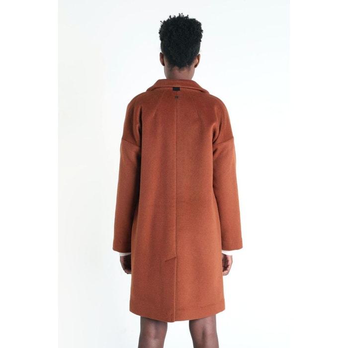 Manteau droit col à revers orange foncé Bonobo   La Redoute