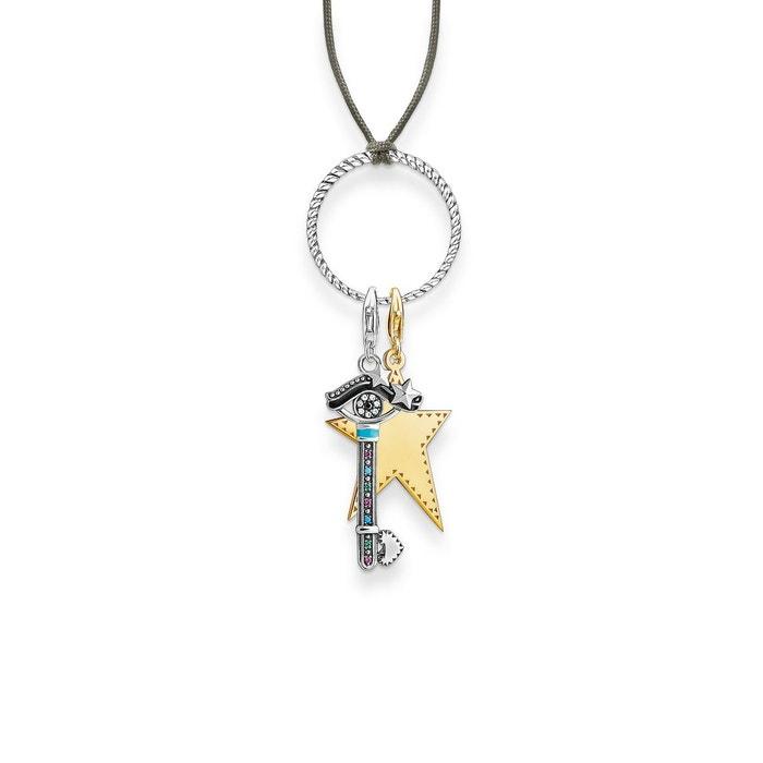 Chaîne little secret charm clé, étoile couleur or jaune, turquoise, noir, blanc, vert Thomas Sabo | La Redoute