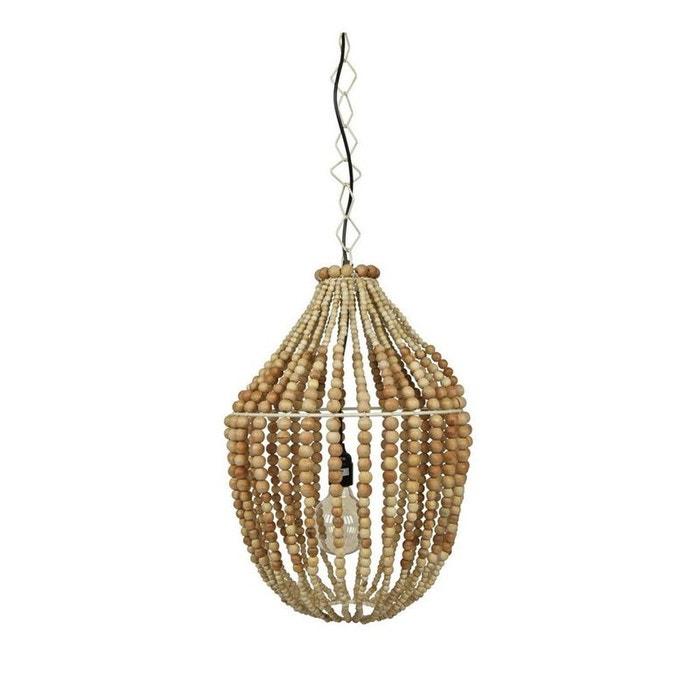 suspension design perles de bois naturel l funale naturel. Black Bedroom Furniture Sets. Home Design Ideas