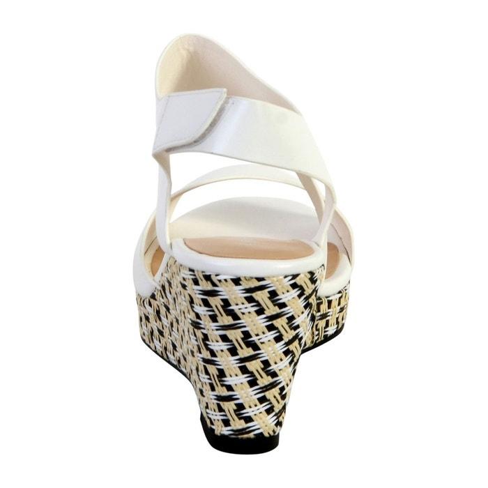 Sandale compensée blanc Enza Nucci