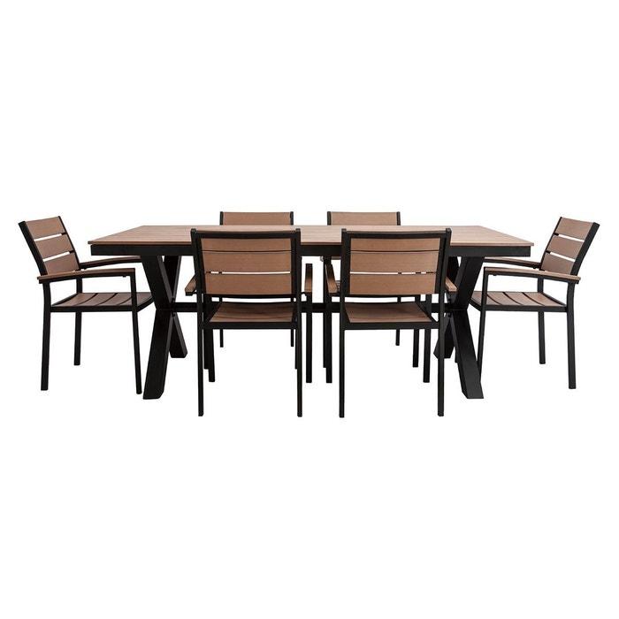 Salon de jardin avec table 4 chaises bois viaggio blanc et gris Miliboo ...