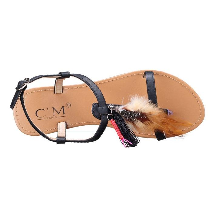 Sandales à plumes noir Leader Mode