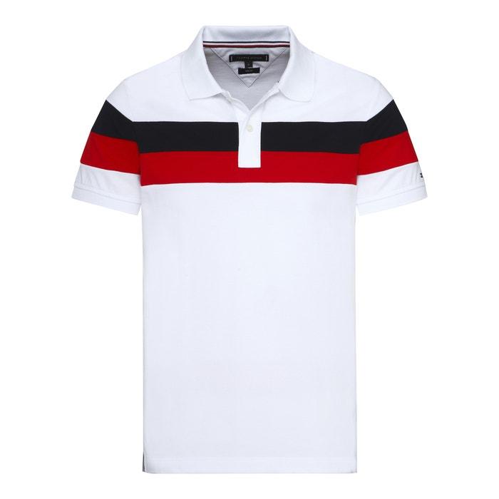 09114938 Striped polo shirt , white, Tommy Hilfiger   La Redoute
