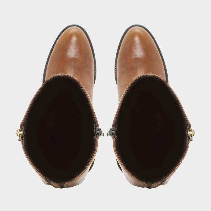 Bottes cavalières en cuir avec zip latéral - tillyy fauve cuir Dune London