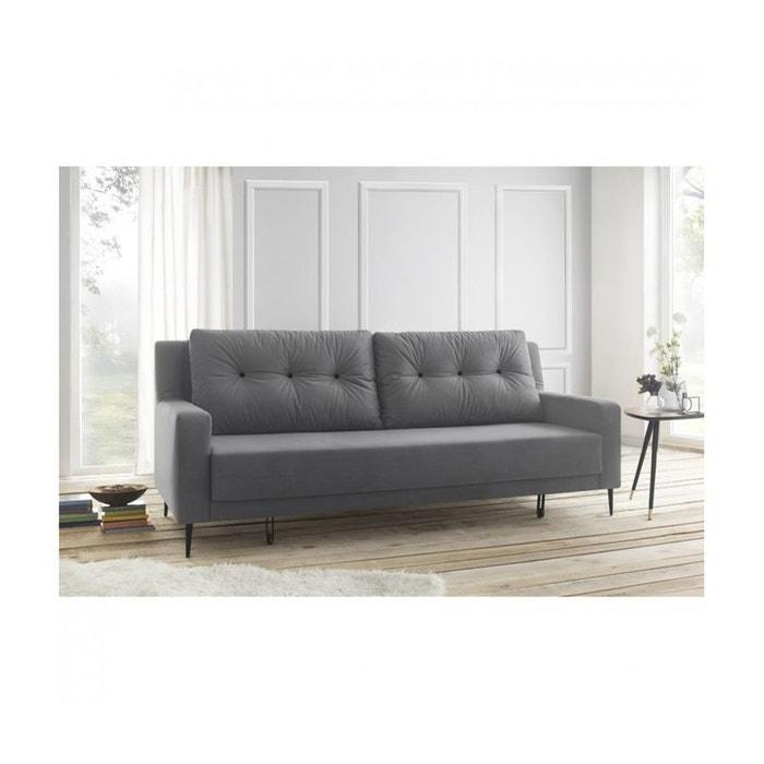 canape 3 places bergen convertible trinity toucher velours gris clair gris bobochic la redoute. Black Bedroom Furniture Sets. Home Design Ideas