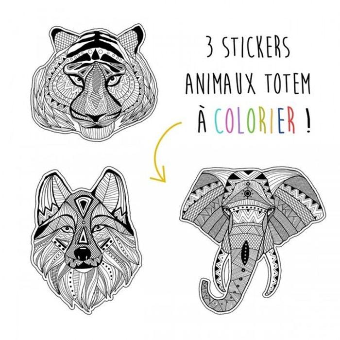 Coloriage Animaux Totem.Stickers Animaux Garcon Noir Et Blanc Animaux Totem Noir Selene Et