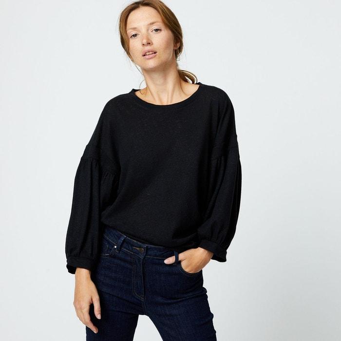 Tshirt en coton et lin à manches ballons noir Monoprix   La Redoute aba23411b6cb