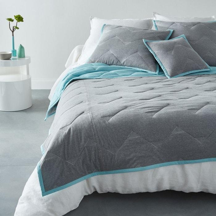 couvre lit matelass jersey malm gris bleu turquoise la redoute interieurs la redoute. Black Bedroom Furniture Sets. Home Design Ideas