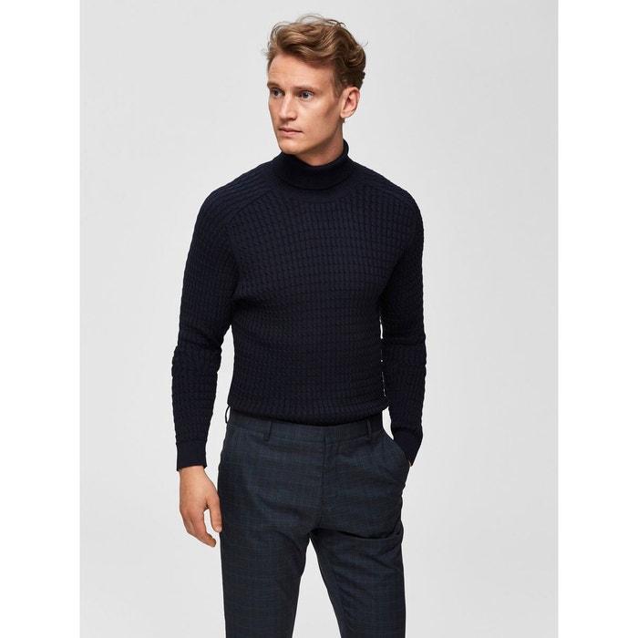 pull col roulé coton homme bleu marine