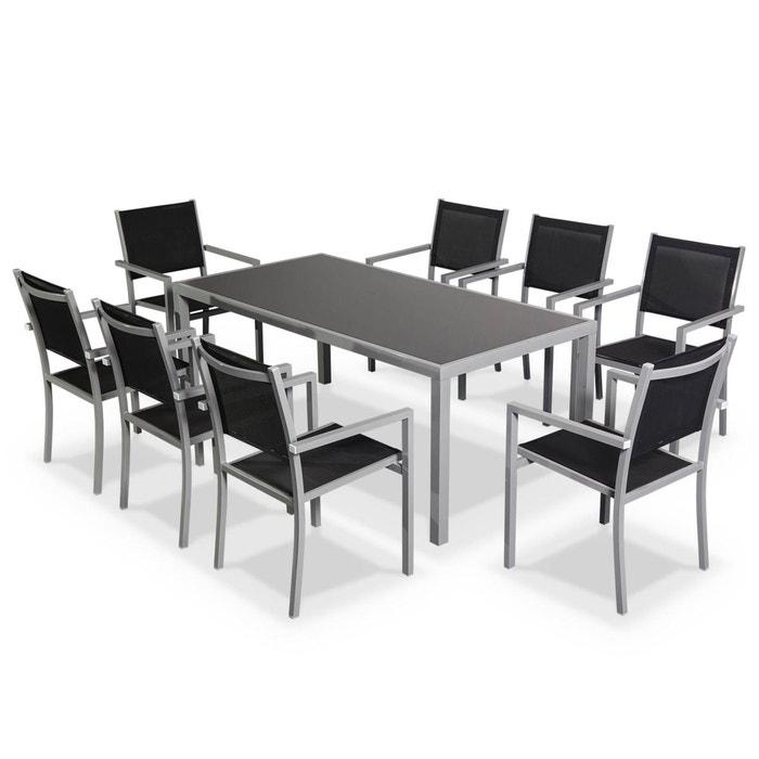 Salon de jardin Capua en aluminium table 180cm, 8 fauteuils en textylène noir et alu gris  ALICE S GARDEN image 0