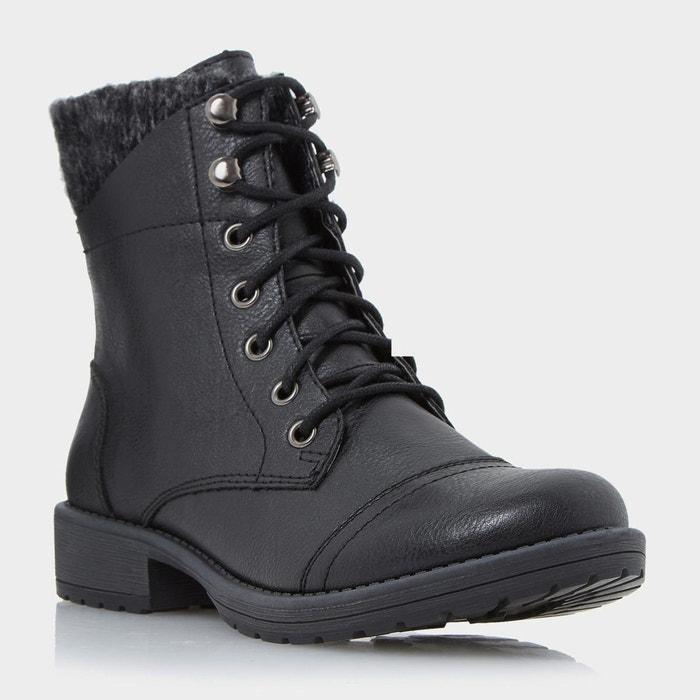 Bottines à lacets et revers tricoté - parkers  noir synthetic Head Over Heels By Dune  La Redoute