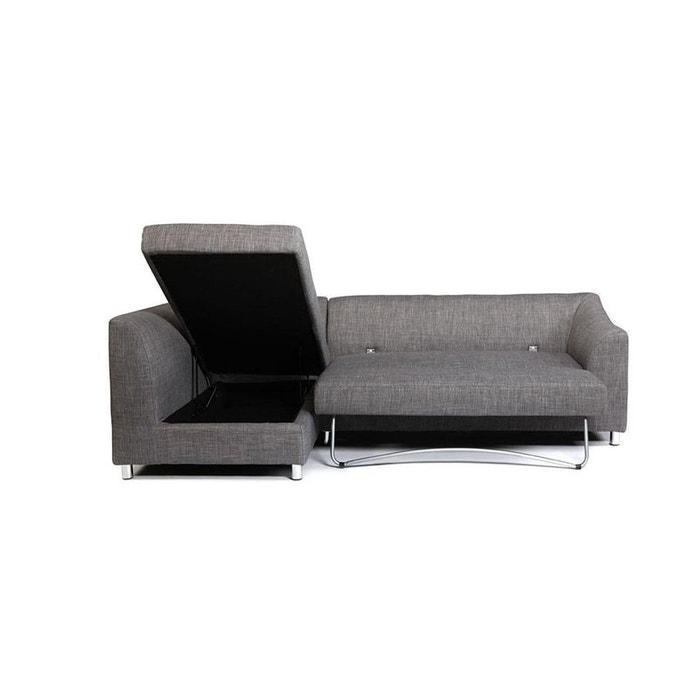 Canapé d\'angle convertible en tissu gris miami (angle gauche) gris ...