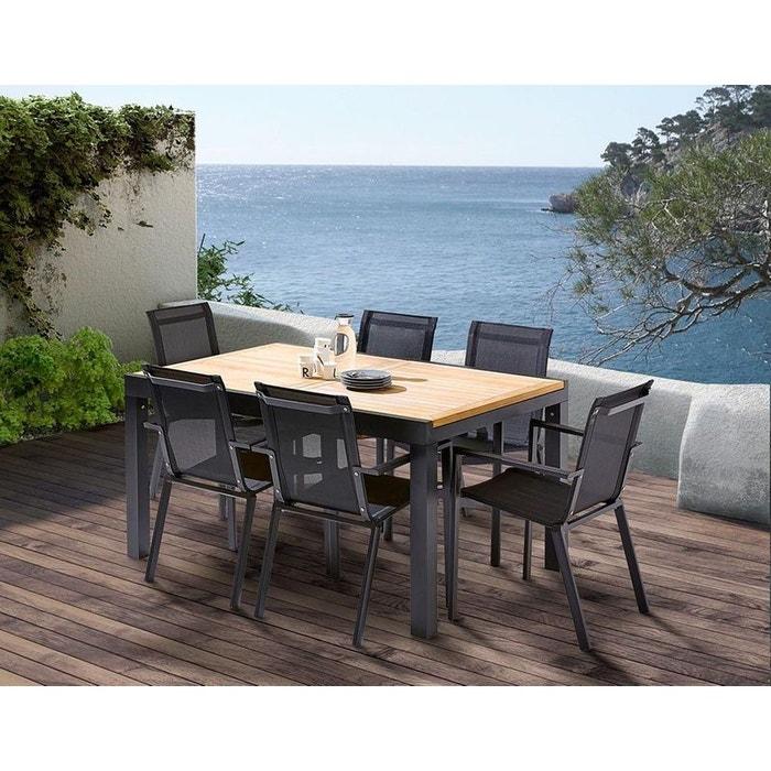 Table et chaises de jardin moderne bali 6 fauteuils noir Wilsa | La ...