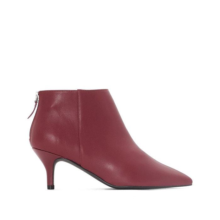 Boots cuir bout pointu bordeaux La Redoute Collections