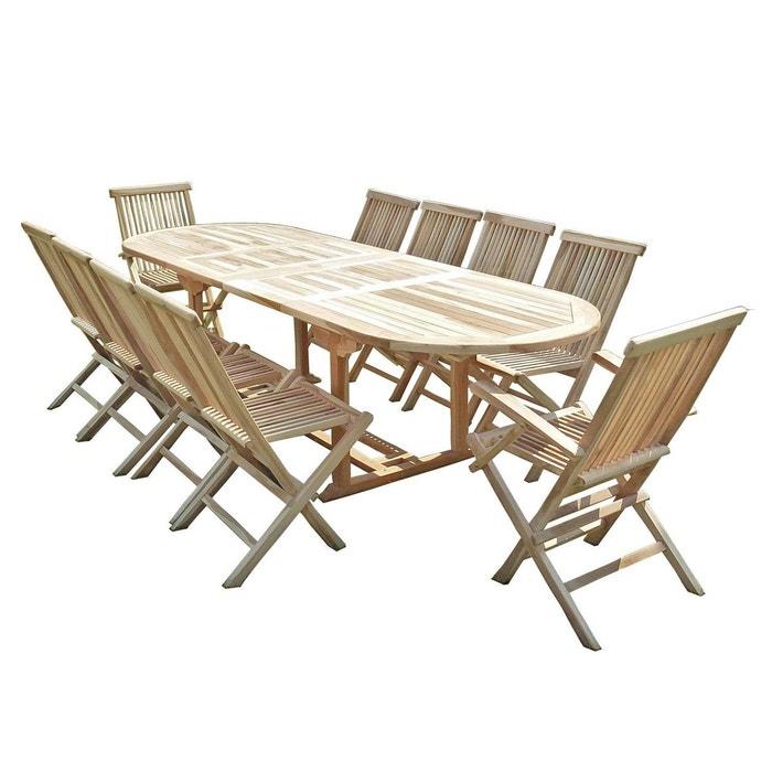 Ensemble salon de jardin en teck HENUA 8 chaises 2 fauteuils