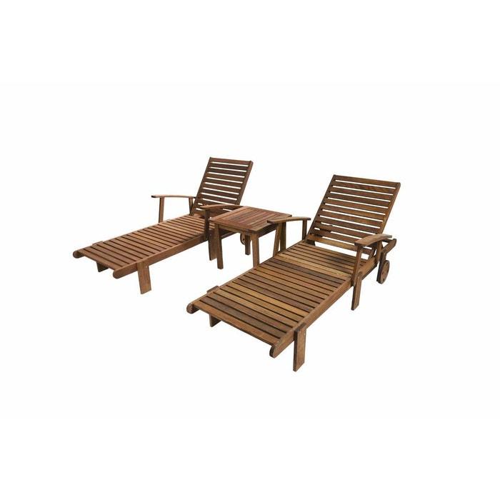 Bain de soleil pliant en bois exotique Tokyo + Table basse en bois