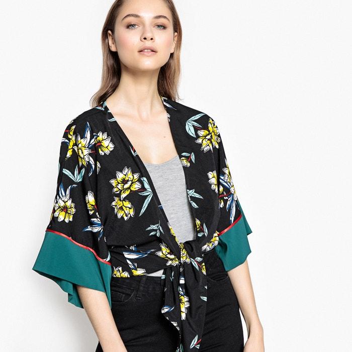 blouse kimono col v manches 3 4 imprim e imprim fleurs. Black Bedroom Furniture Sets. Home Design Ideas
