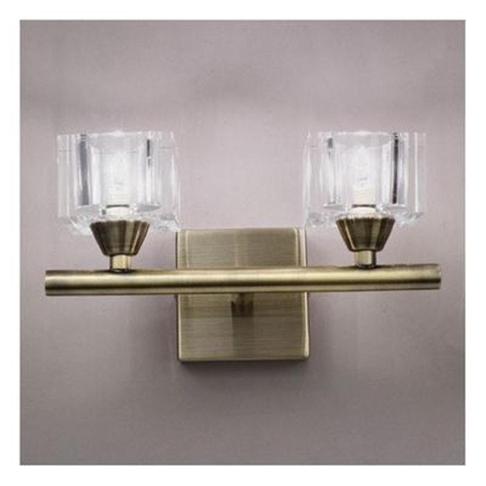 applique murale laiton double cubic dor millumine la redoute. Black Bedroom Furniture Sets. Home Design Ideas