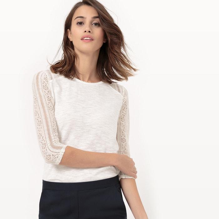 afbeelding T-shirt zonder kraag met mouwen in kant La Redoute Collections