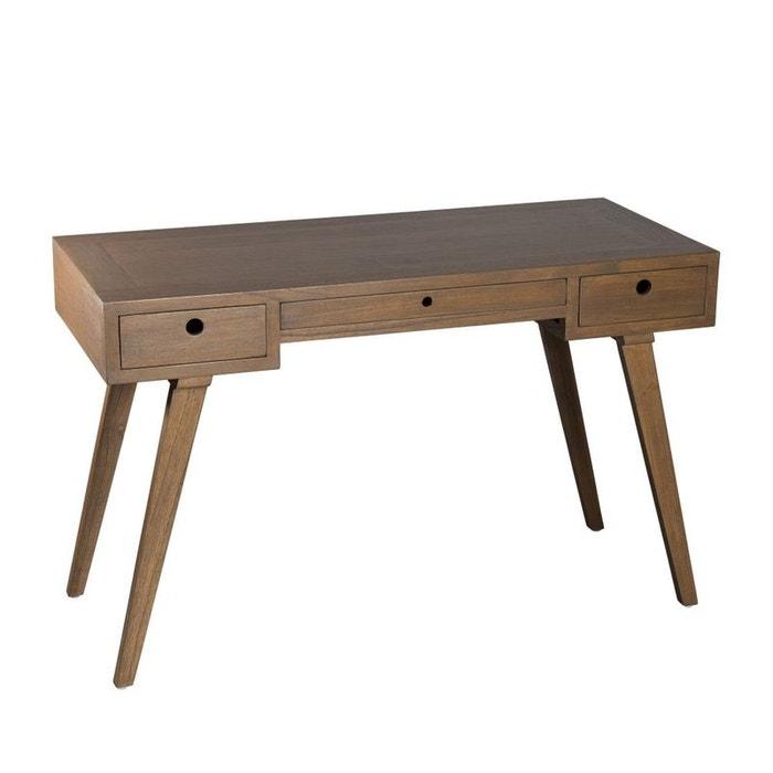 bureau en bois exotique couleur cannelle 3 tiroirs 115x50x73cm fanny bois fonce pier import la. Black Bedroom Furniture Sets. Home Design Ideas