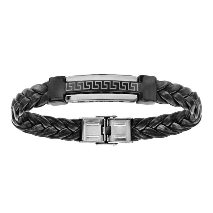 Bracelet 21,5 cm longueur réglable motif grec cuir noir tresse plaque céramique acier inoxydable couleur unique So Chic Bijoux | La Redoute