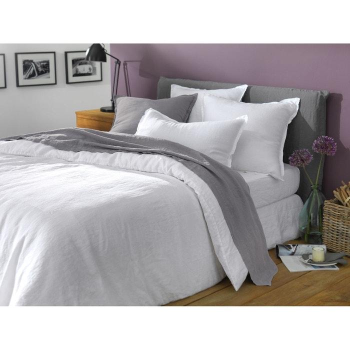 housse de couette lin lav uni blanc blanc blanc. Black Bedroom Furniture Sets. Home Design Ideas