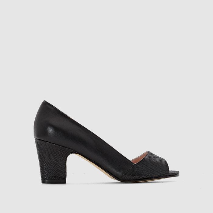 f21da1c1584e6 Metallic effect leather open toe pumps Anne Weyburn