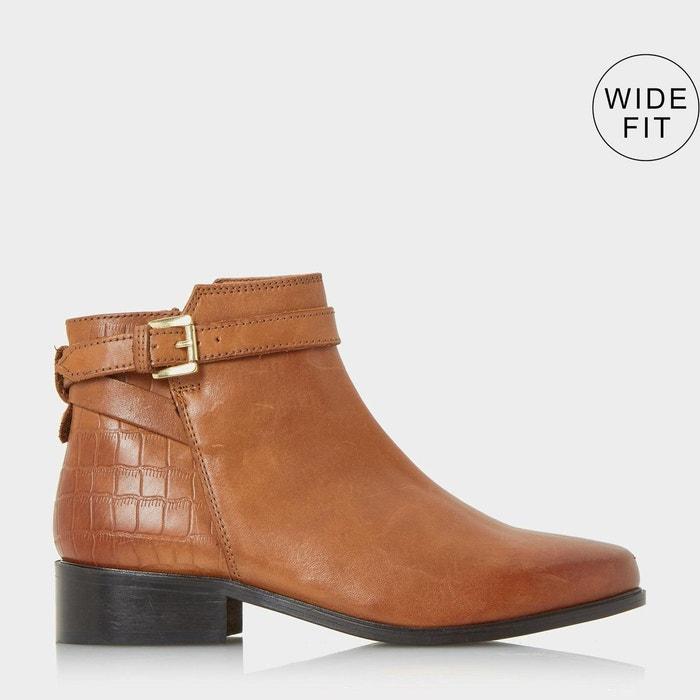 f84c4f2b046011 Bottines à zip latéral et boucle pour pieds larges - w poppy Dune London    La Redoute