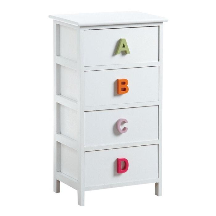 Commode alphabet 4 tiroirs blanc aubry gaspard la redoute - Commode la redoute ...