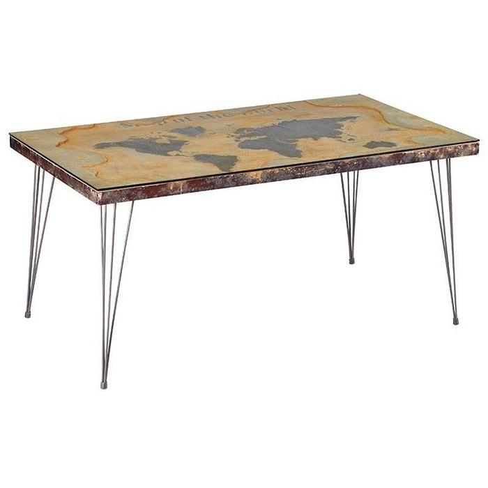 Table A Manger Style Industriel Plateau En Verre Trempe Mappemonde