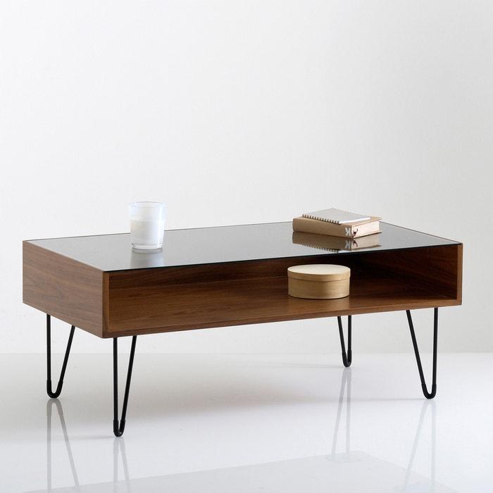 Watford glass top coffee table walnut La Redoute Interieurs La