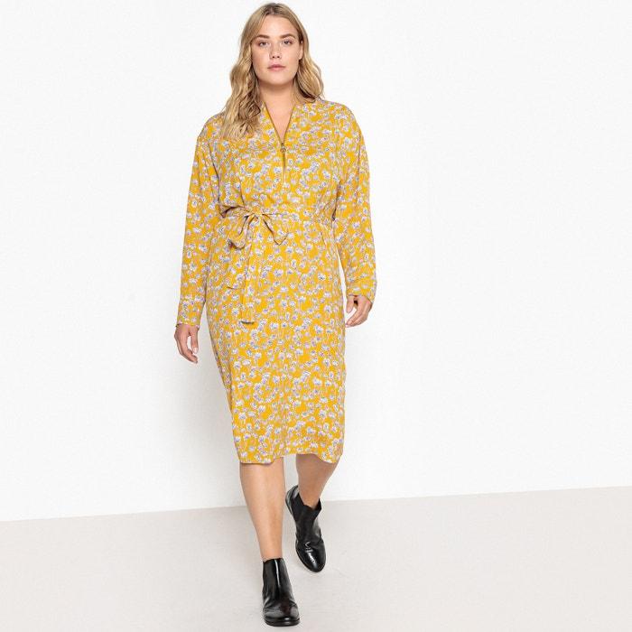 Платье прямое с поясом и цветочным рисунком, длина. миди