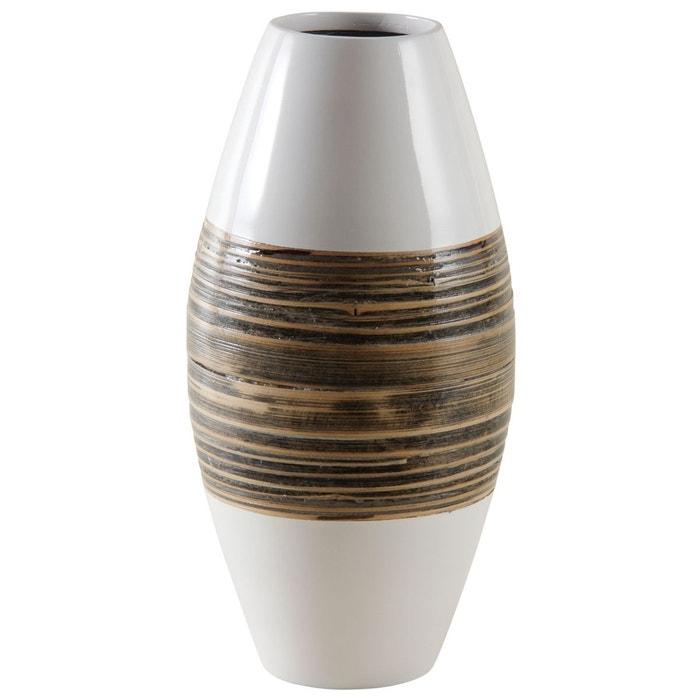 vase en bambou naturel et laqu blanc multicolore aubry gaspard la redoute. Black Bedroom Furniture Sets. Home Design Ideas