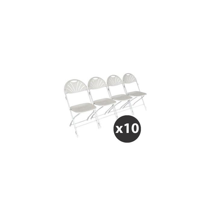 10 Chaises Pliantes Blanches Avec Crochets De Liaison Blanche Mobeventpro