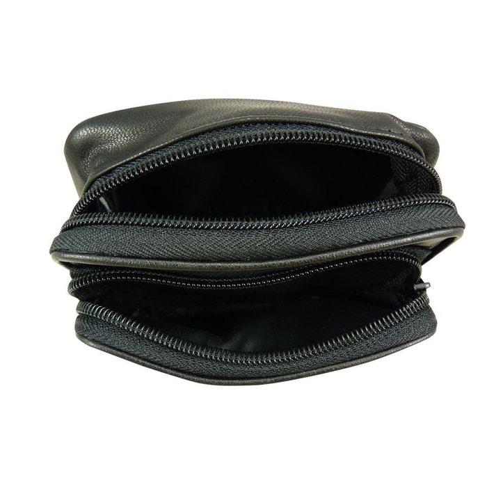 1302136b9f4d Sac sacoche ceinture homme en cuir agneau noir Chaussmaro   La Redoute