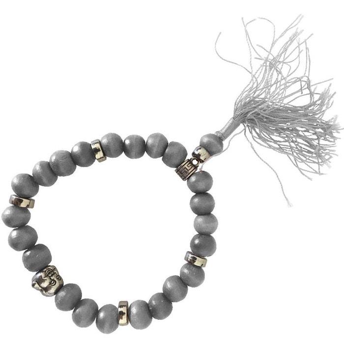 Bracelet Modèle Bouddhiste Bois De En Perles Gris POikXZu