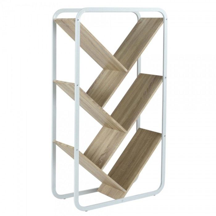 aa35d09afd4c01 Étagère bibliothèque design moderne en bois et métal bois clair Calicosy    La Redoute